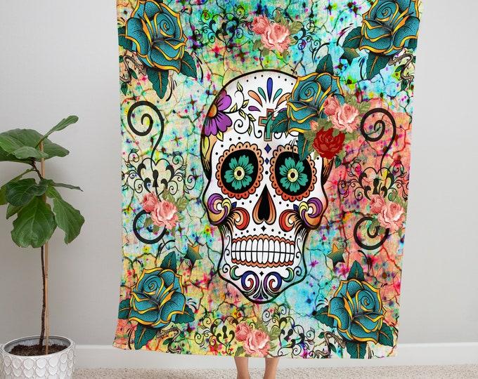 Mosaic Sugar Skull Blanket