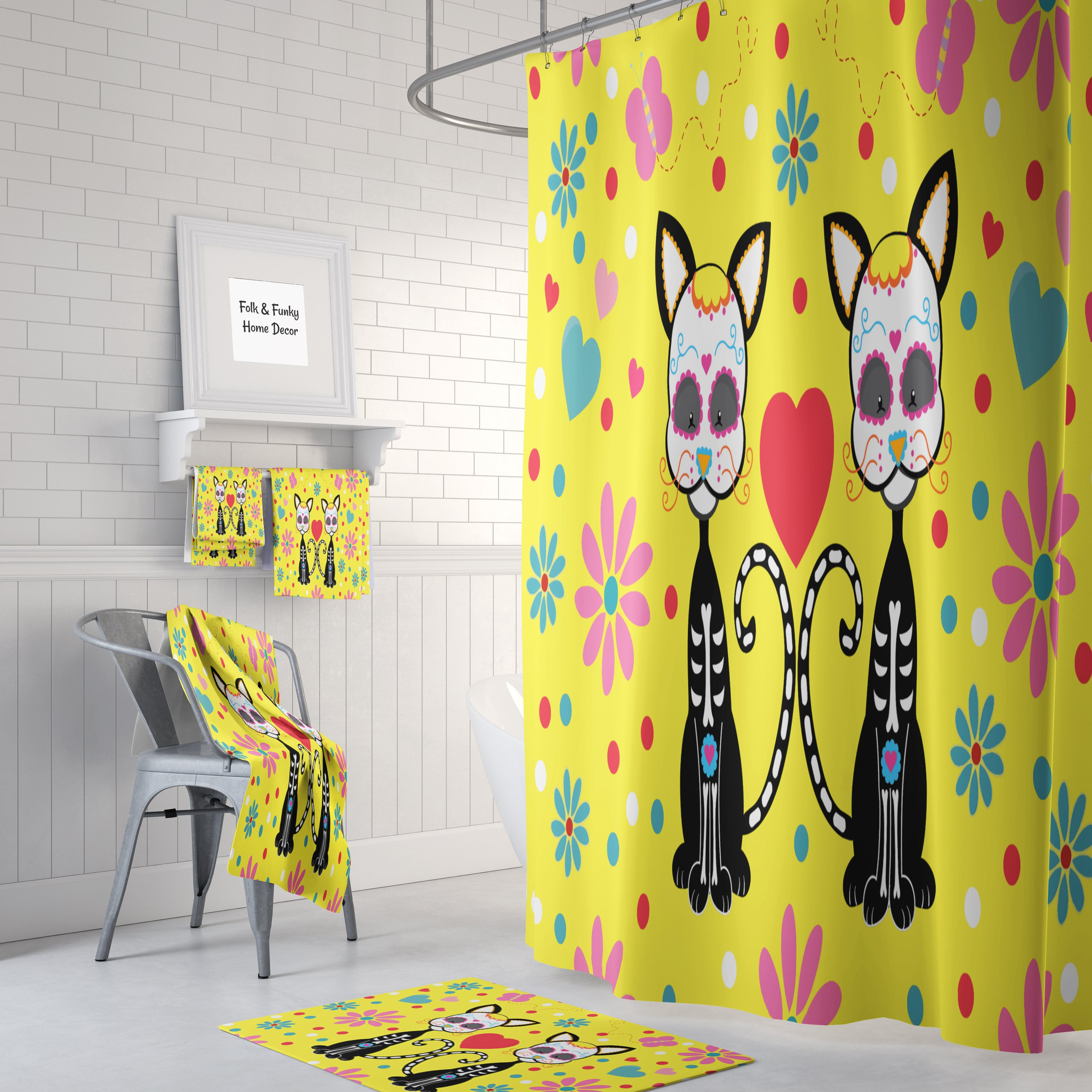 Sugar Skull Cats Shower Curtain , Sunny Yellow , Day Of The Dead ...