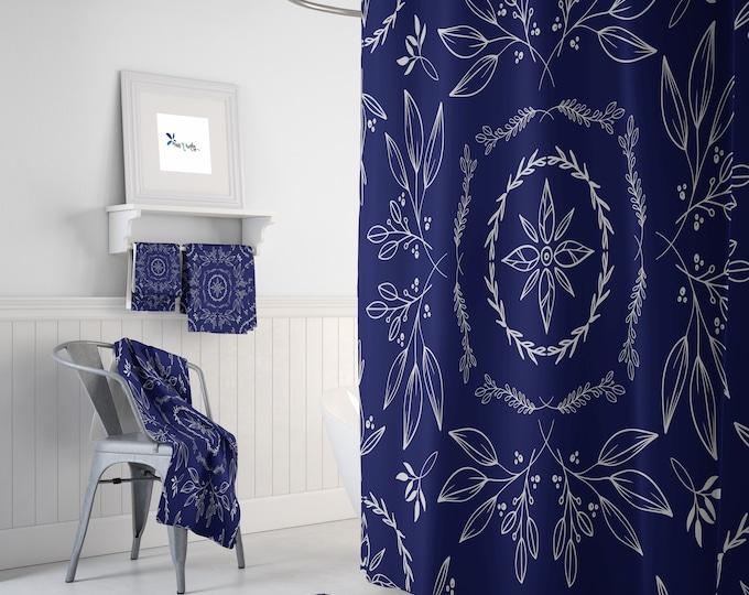 Blue Farmhouse Floral Shower Curtain