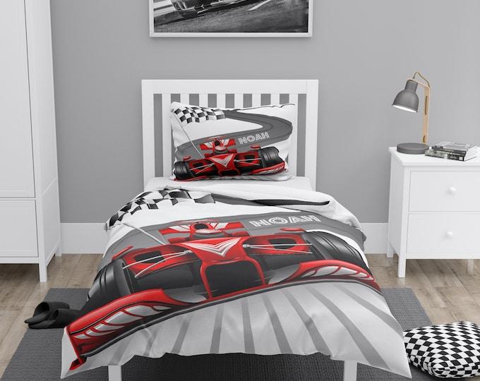 Personalized Race Car Comforter, Duvet Cover, Pillow Shams