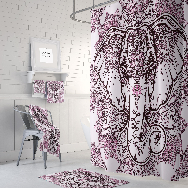 Boho Chic Elephant Shower Curtain , Bath Mat, Bath Towls , Pink and ...