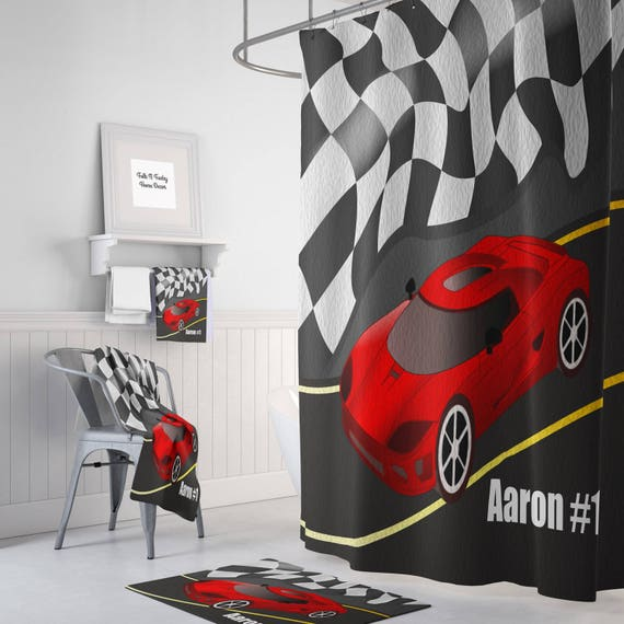 Personalized Race Car Shower Curtain Bath Mat Towels