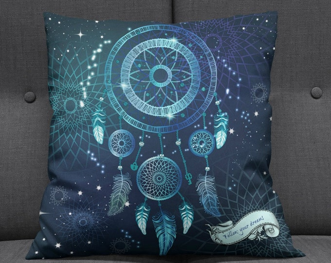 Dream Catcher Throw Pillow, Boho Chic, Follow Your Dreams Quote, Galaxy Blue