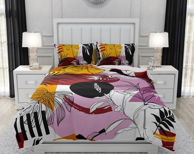 Modern Abstract Bedding Options Duvet Cover,Comforter, Shams Geometric Foliage