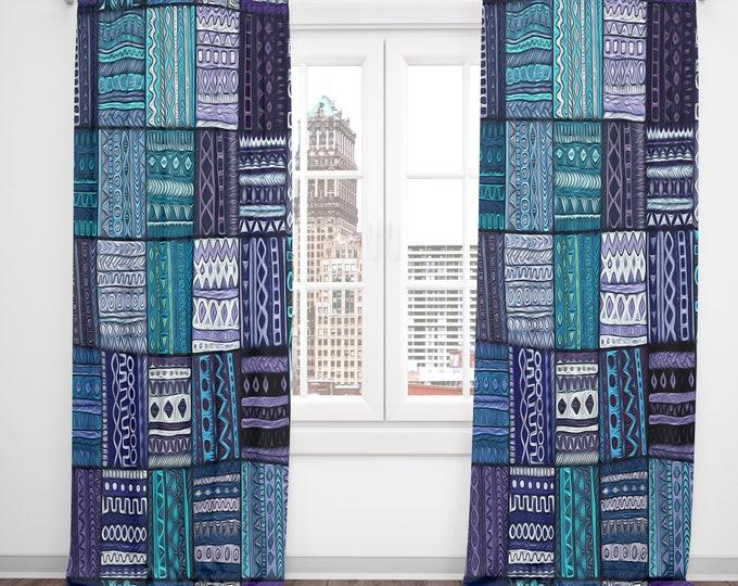 Boho Chic Window Curtains Tribal Blocks, Hippie Faux Patchwork