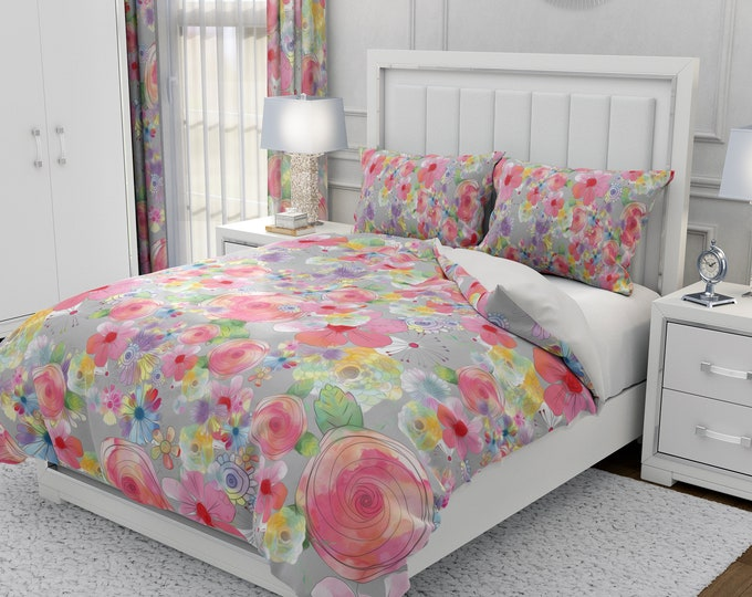 Floral Comforter, Duvet Cover Pillow Shams Boho Bedding Set Watercolor