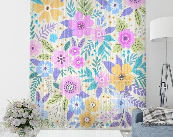Modern Floral Sheer Window Curtains