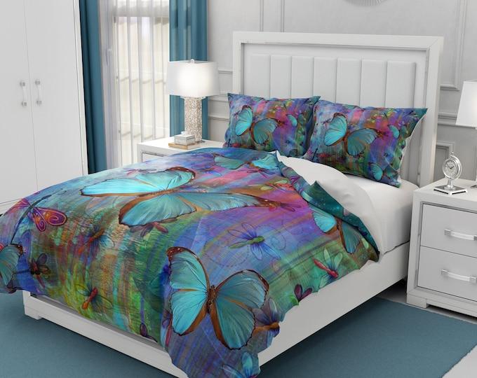Blue Butterfly Dragonfly Bedding, Comforter, Duvet Cover, Pillow Shams