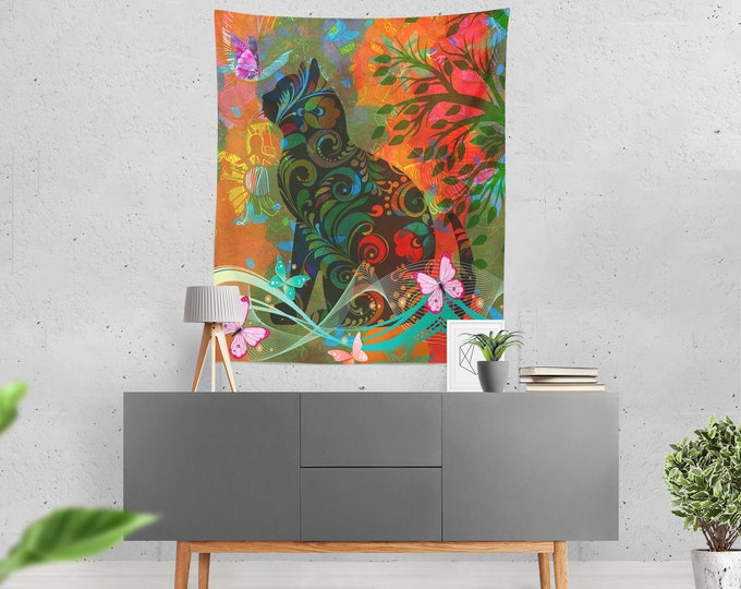 Hippie Cat Wall Tapestry