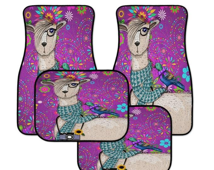 Purple Llama Car Mats, Funky Boho Floral