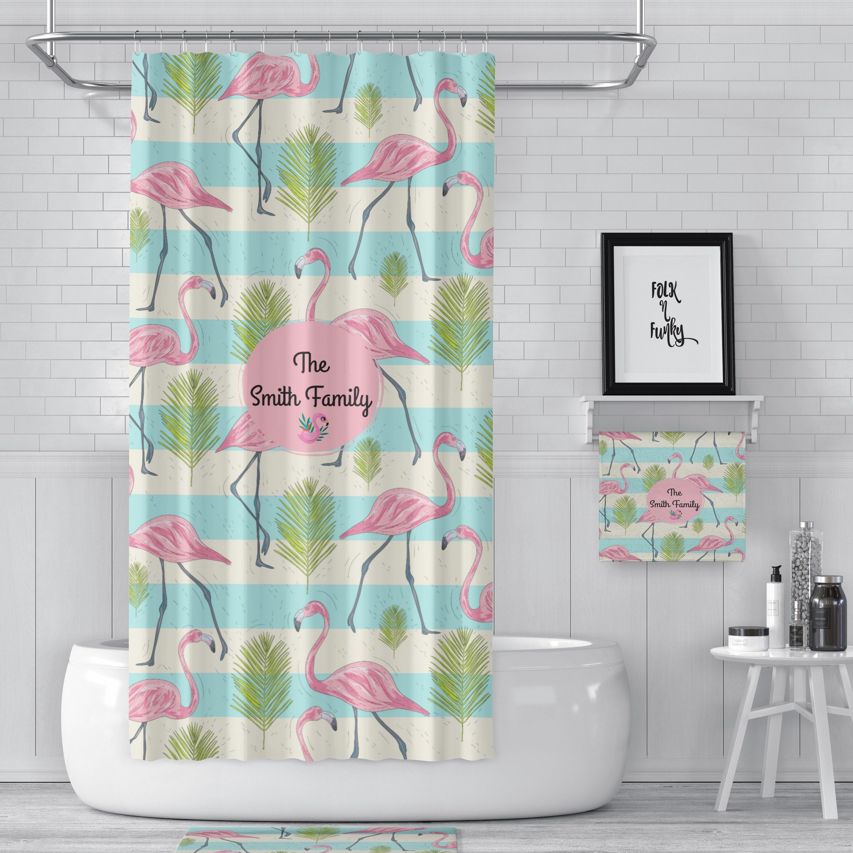 Shower Curtain Rv Size 47 X64 Personalized Custom Pink Flamingo Vintage Camper Bath Towel Mat