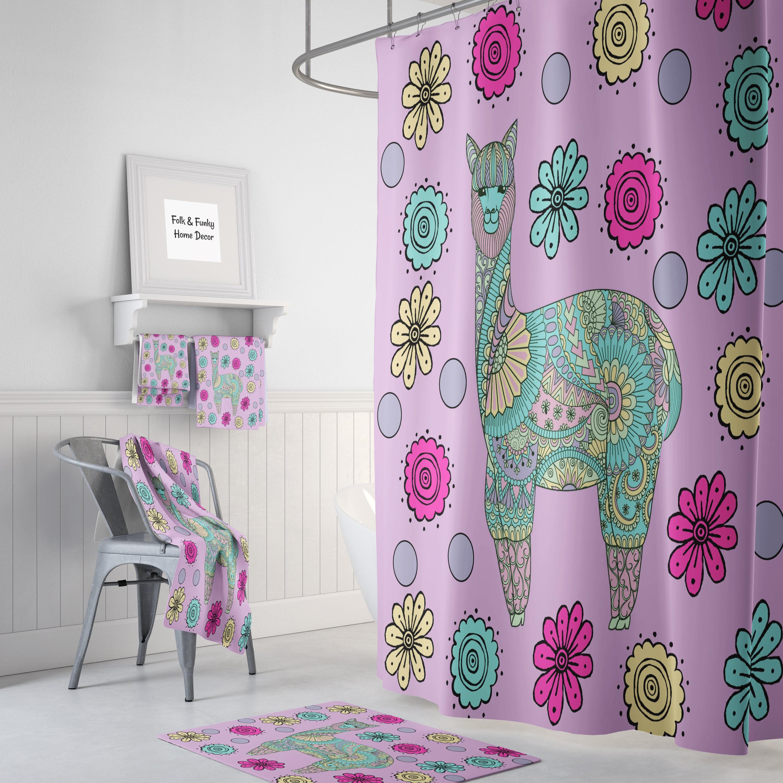 Purple Llama Shower Curtain Bath Mat And Towels