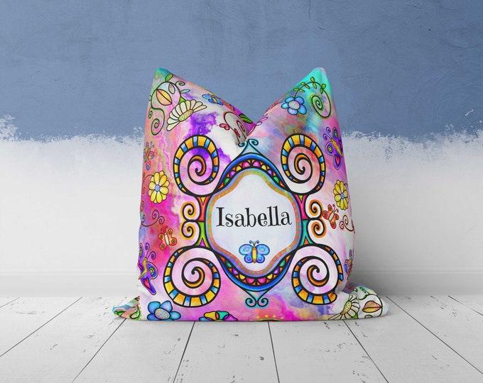 Personalized Boho Hippie Throw Pillow