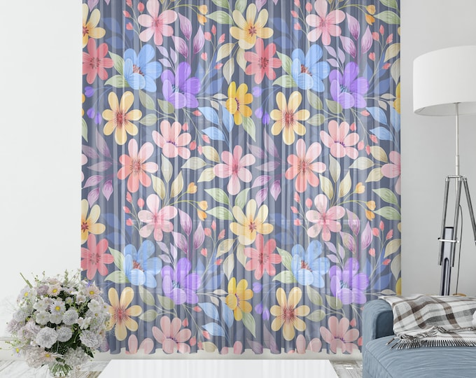 Winnia Floral Sheer Window Curtains