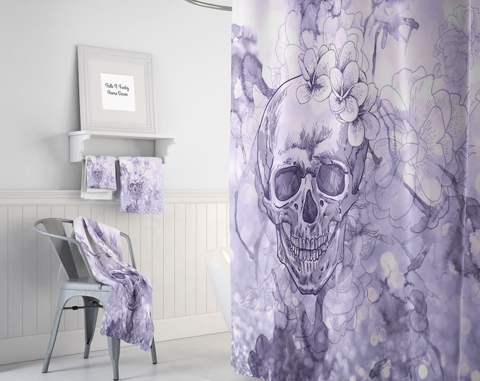 Lavender Waterclor Skull Shower Curtain -Day Of The Dead- Optional Bath Mat and Towels