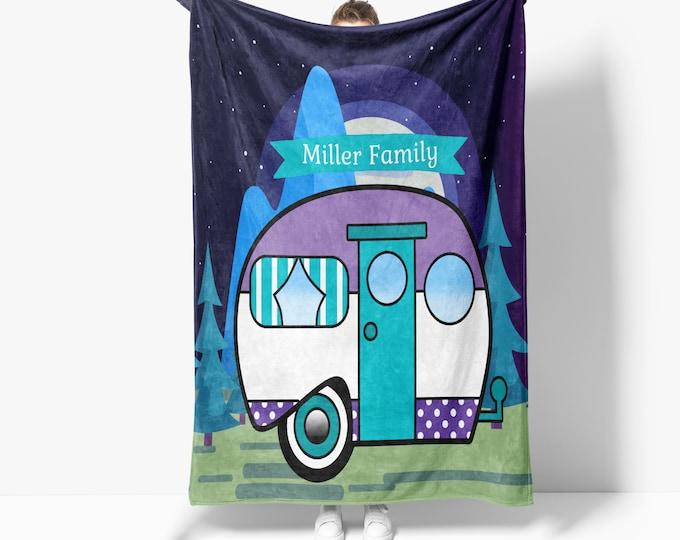 Retro Camper Blanket Purple Personalized Sherpa Blanket