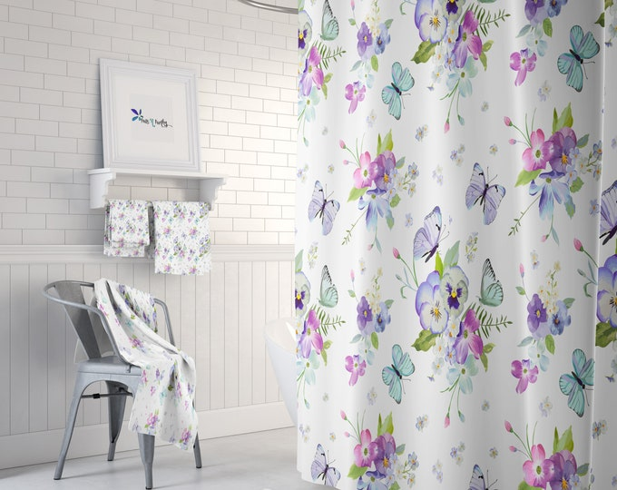 Pansy and Butterfly Floral Shower Curtain, Optional Towels and Bath Mat