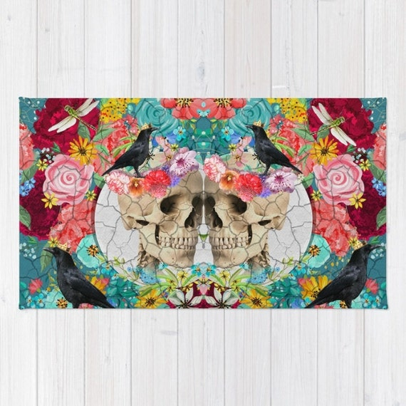 Skull Area Rugs: Skull Rug Area Rug And Throw Rugs Size Colorful Calavera