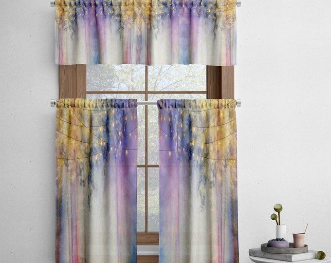 Lavender Nights Cafe Window Curtains
