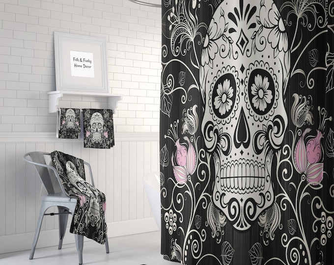 Sugar Skull Shower Curtain -Day Of The Dead-Black, White, Pink Thistle Floral