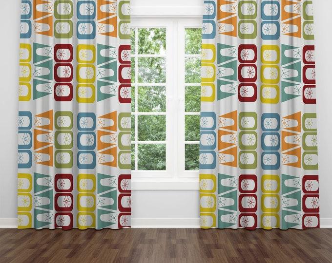 Mid Century Modern Window Curtains Retro Geo Abstract
