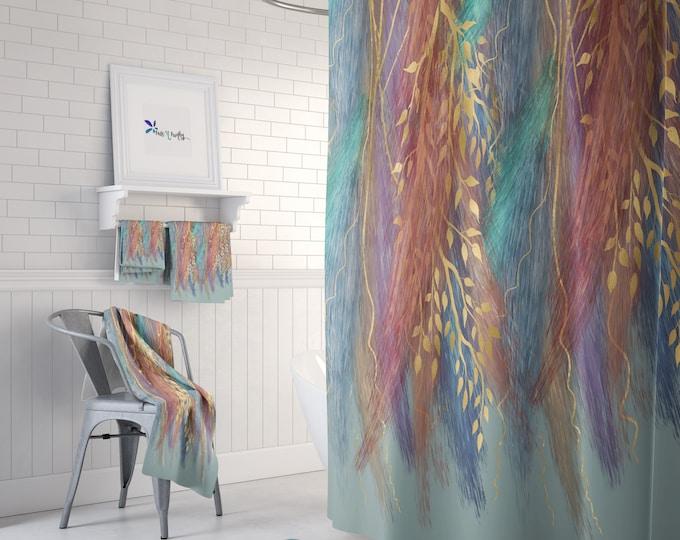 Wispy Boho Shower Curtain or Bathroom Set