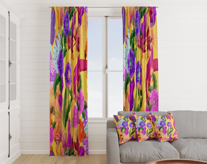 Exotic Floral Window Curtains Many Variations