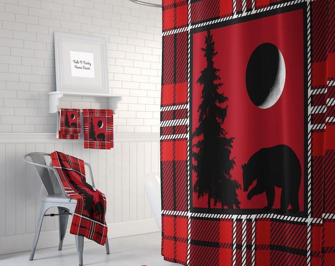 Woodland Red Plaid   Shower Curtain  Optional Bath  Mat Bathroom Set, Bear , Tree ,Moon