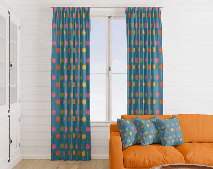 Mid Century Modern Window Curtains Atomic Polka Dot