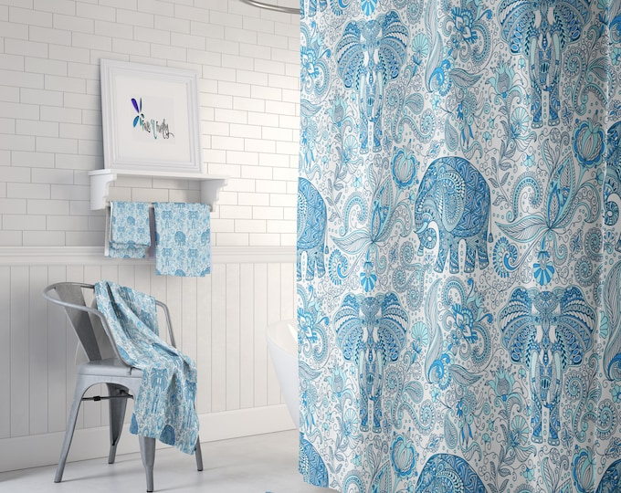 Blue Paisley Elephant Shower Curtain , BohoDecor, Add Bath Mat and Towels For a Bathroom Set