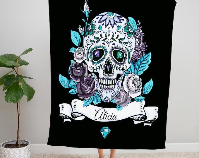 Personalized Sugar Skull Blanket