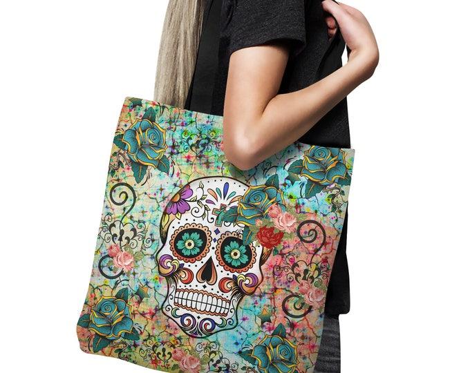 Sugar Skull Tote Bag, Canvas Bag , Shopping Bag 18x18