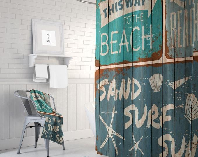 Beach Shower Curtain Rustic Sign Faux Wood, Optional Bath Mat, Bath Towels