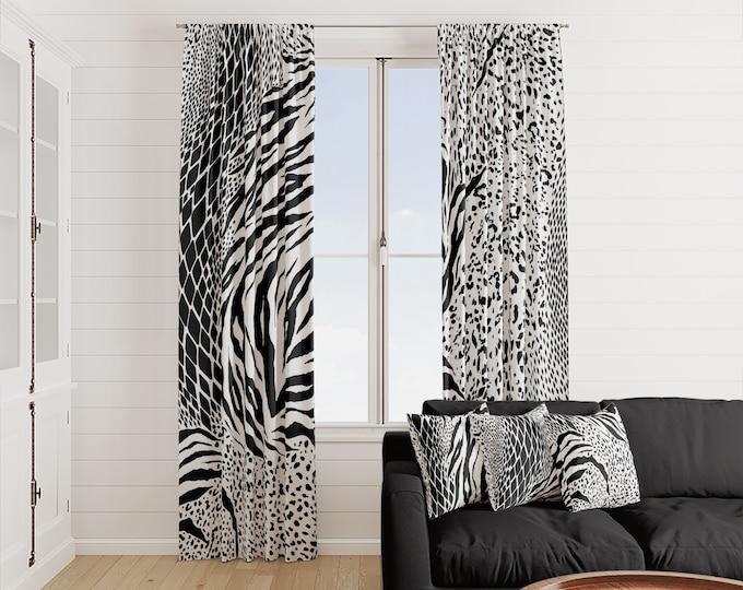 Black and White Zebra Window Curtains