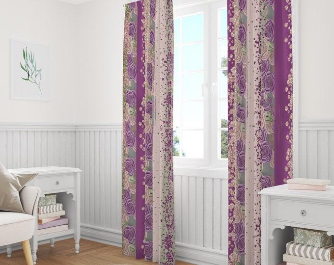 Subtle Rose Boho Window Curtains