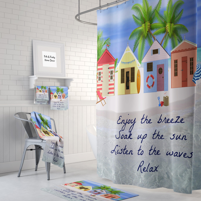 Shower Curtain, Beach Huts, Beach Quote, Beach Theme, Bath Towels ...