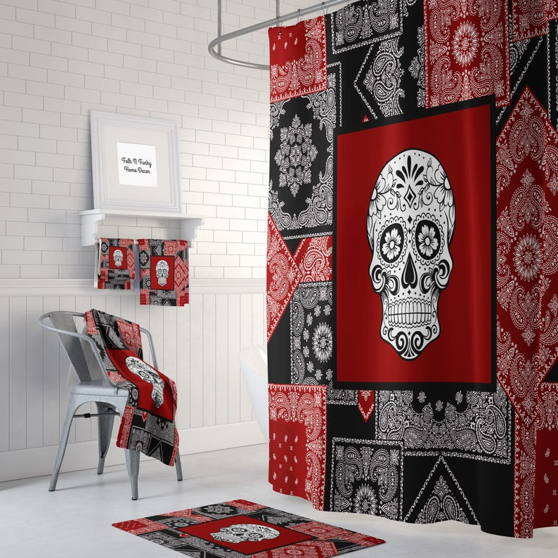 Skull Shower Curtain Sugar Skulls Day Of The Dead Bath