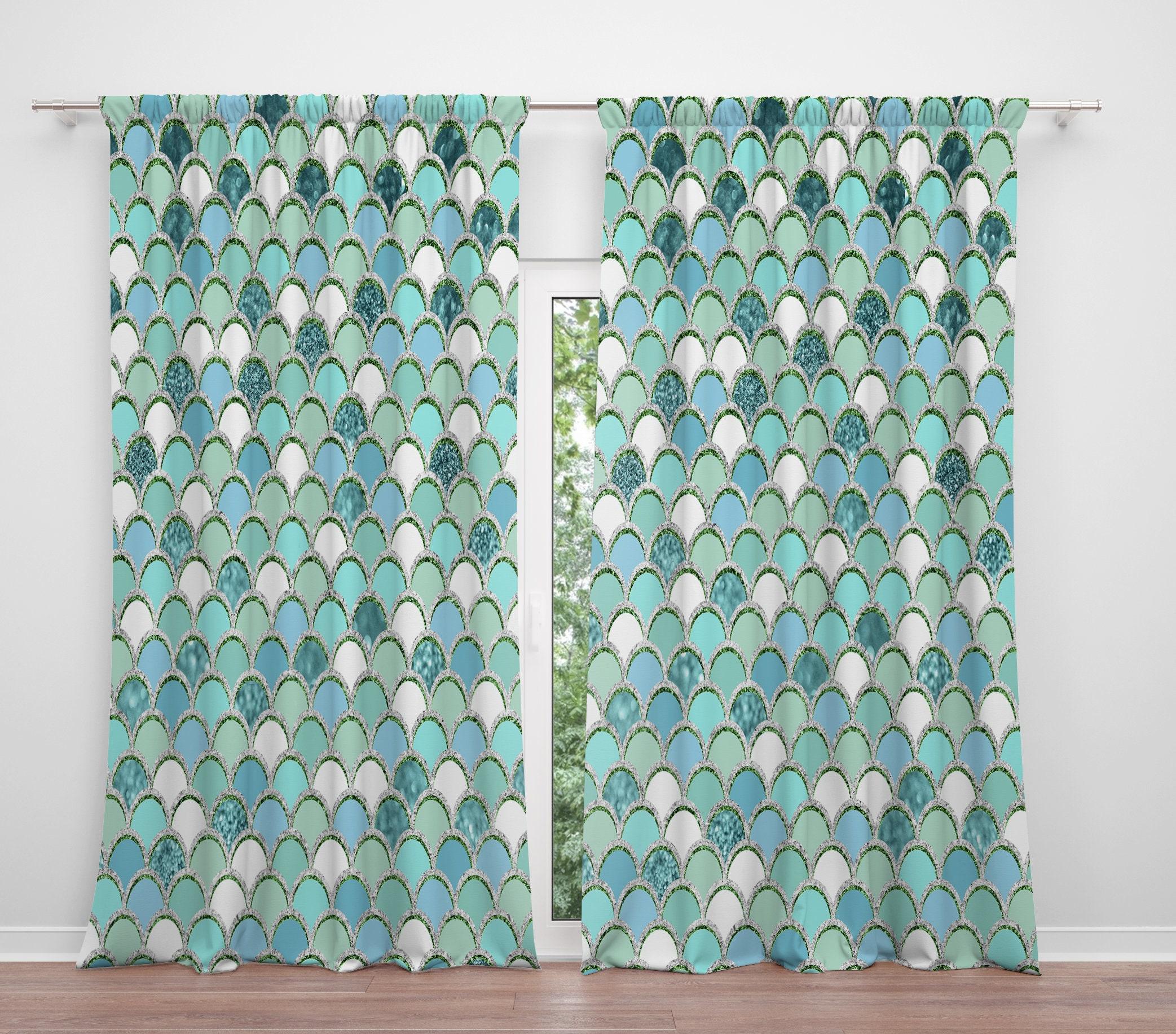 Mermaid Scales Window Curtains Sea Jewels Aqua Blue Green Long Short Valance