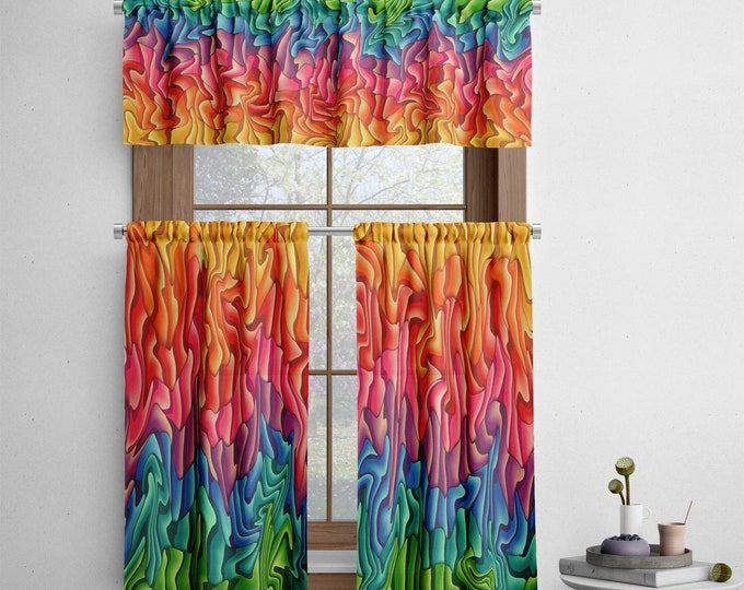 Colorful Abstract Cafe Curtains