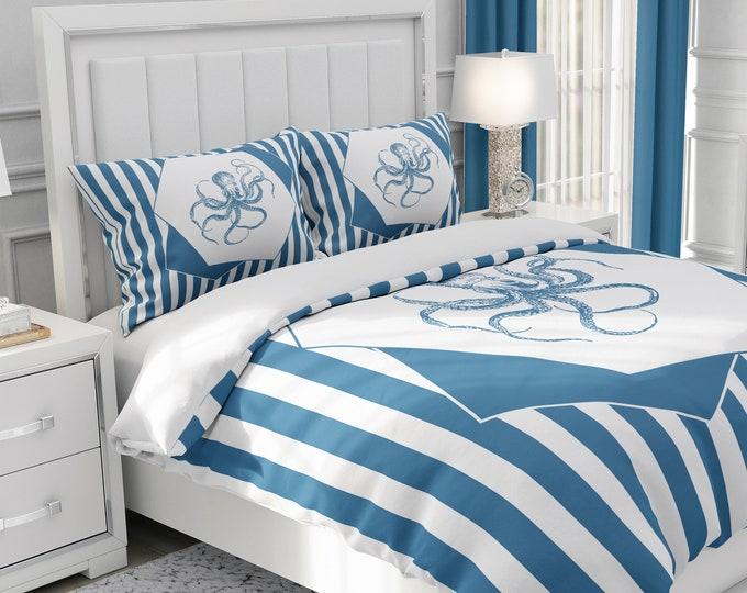 Blue Octopus Bedding Set Comforter or Duvet Cover