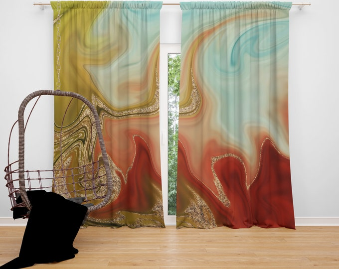 Bohemian Sunrise Marbled Window Curtains