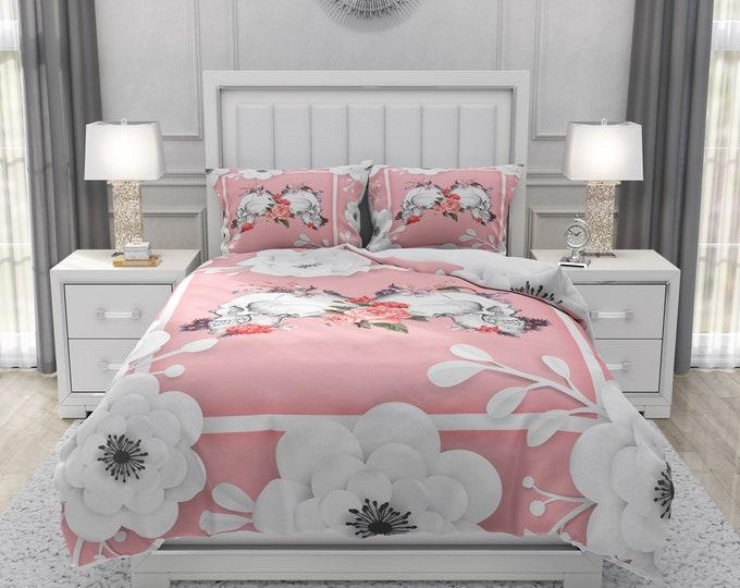 Pink Skulls Floral Bedding Set