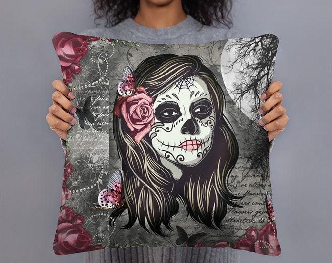 Sugar Skull Pillow , Throw Pillows, Skulls, La Rosa Girl Skull