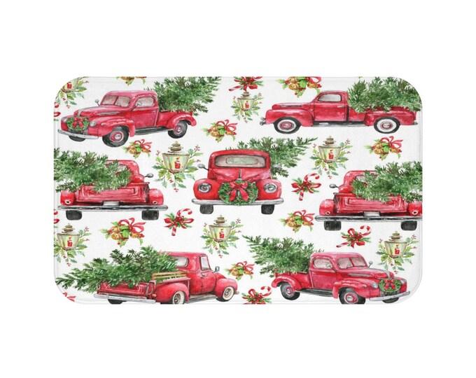 Red Christmas Truck Bath Mat