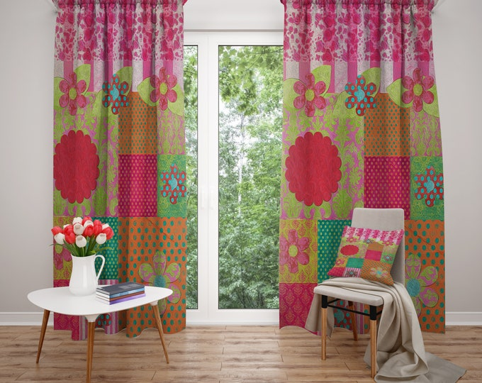 Hippie Chic Window Curtains, Blackout or Sheer, Boho Home Decor