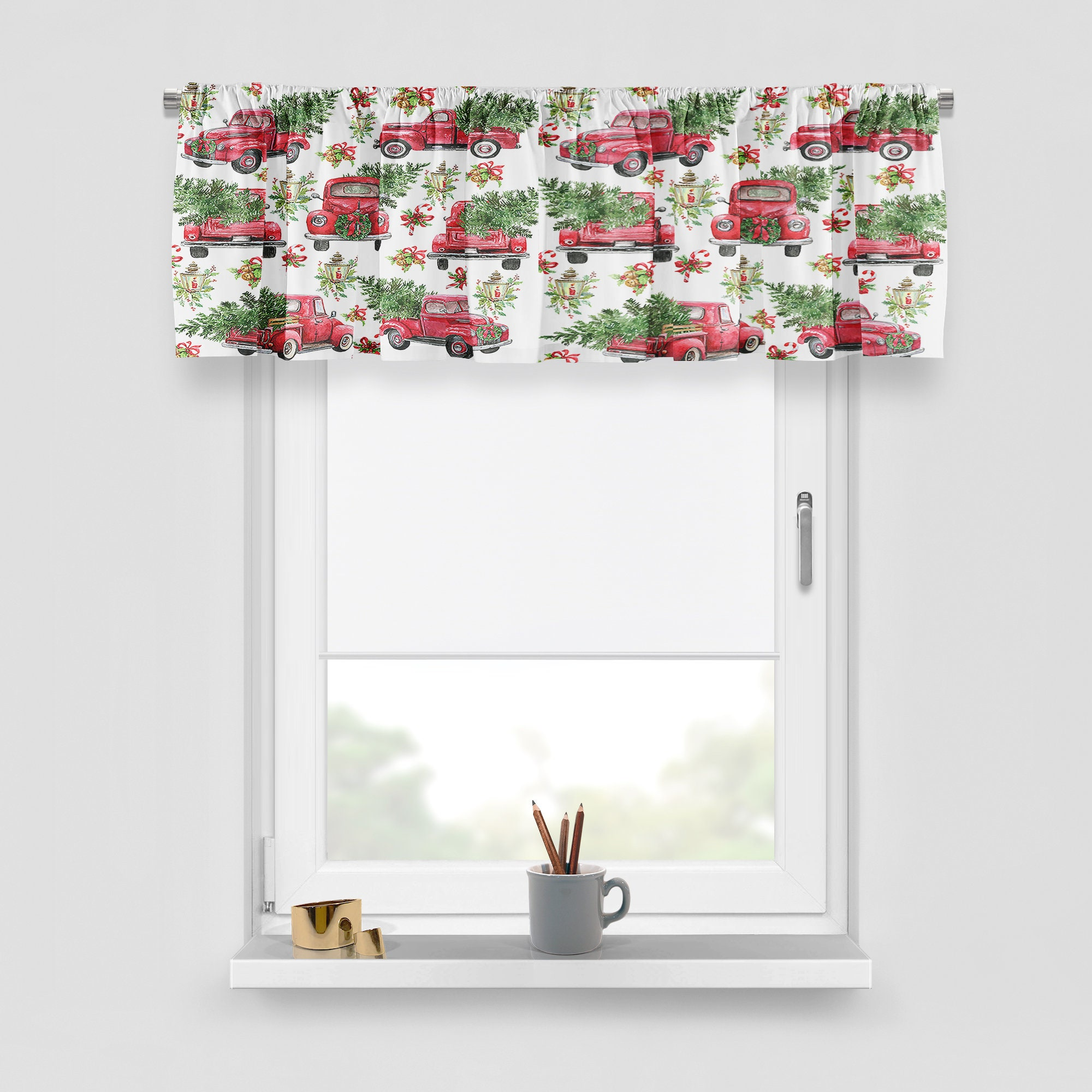 Christmas Window Valance, Curtain Panel, Red Truck With