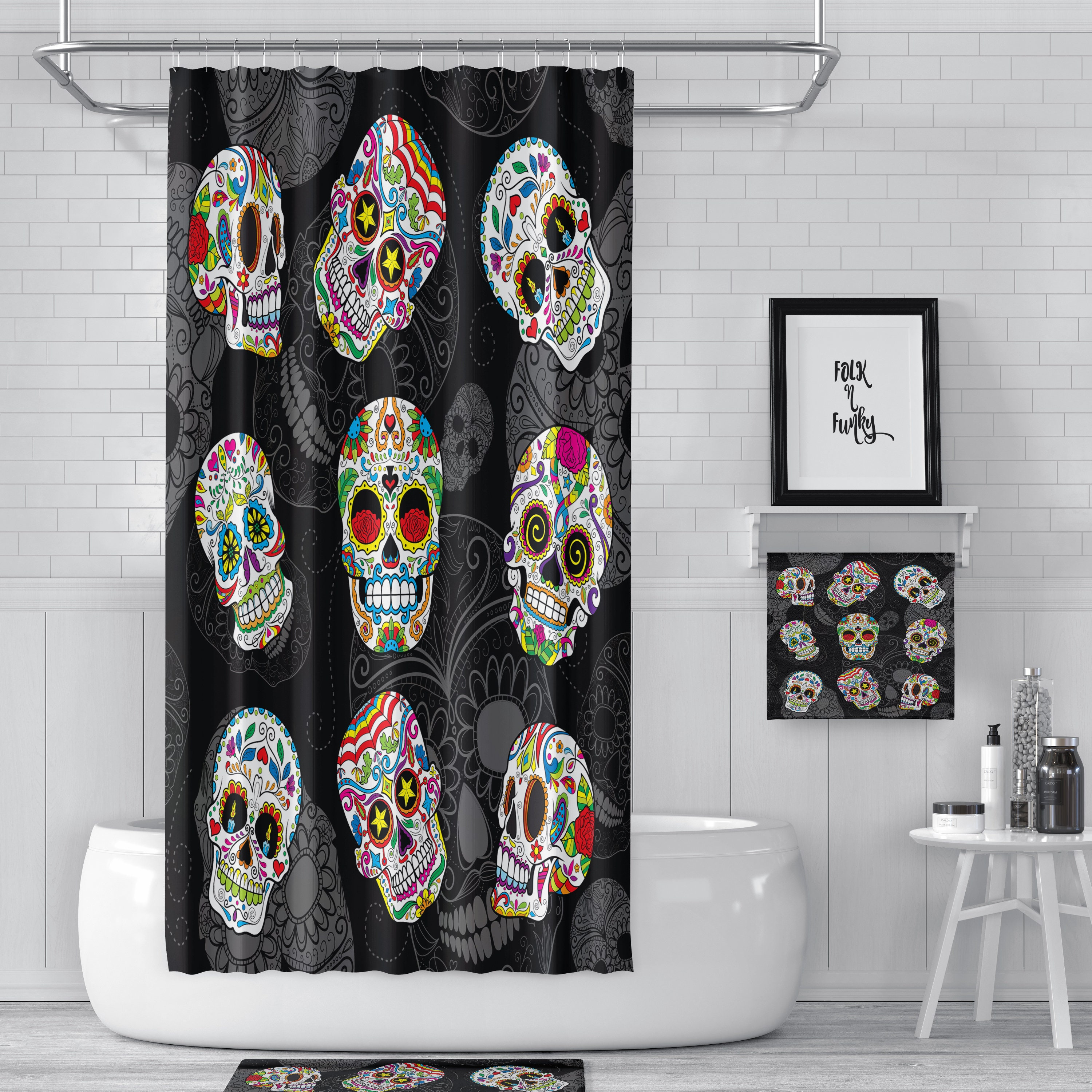 Shower Curtain, Sugar Skull, Day Of The Dead, Black ,Bath