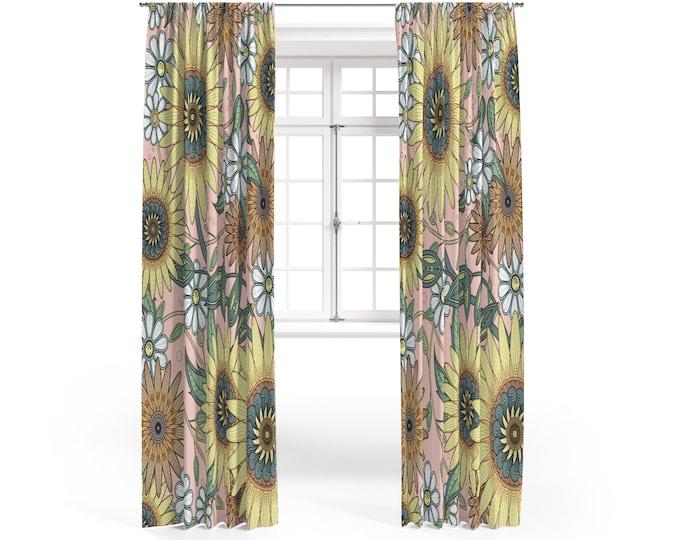 Hippie Sunflower Floral Boho Window Curtains