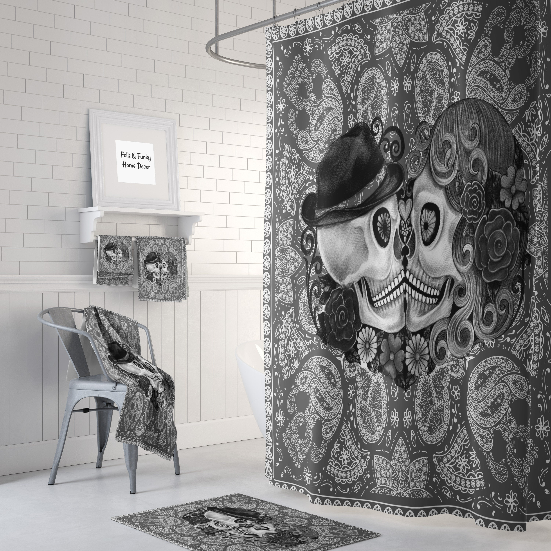 Sugar Skull Shower Curtain Kissing Skulls Gray Bandana Design Bath Towels Mats Curtains Decor