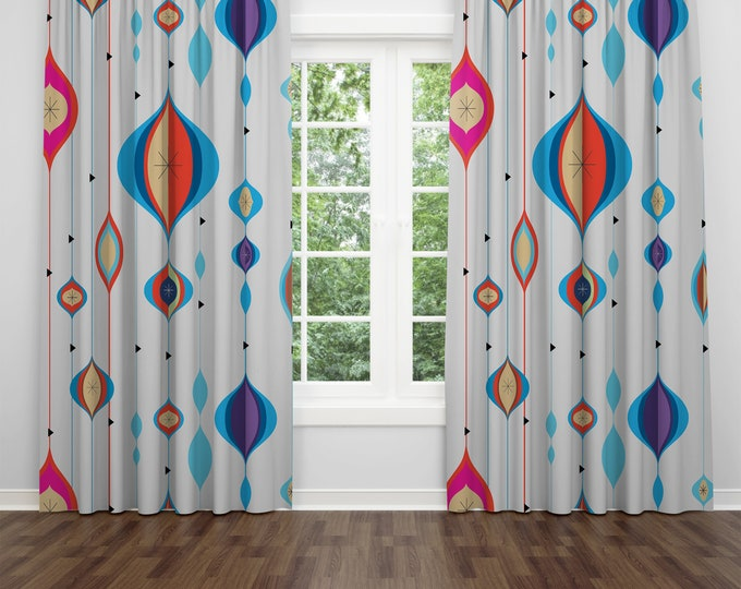 Mid Century Modern Ornamental Window Curtains